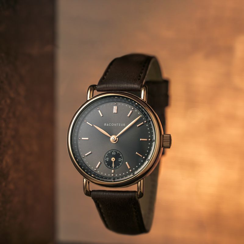 Earhart Rose Gold Grey - Black Leather image