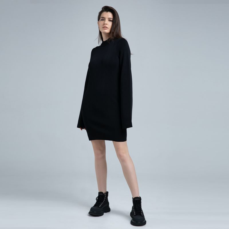 Black Knit Short Dress image