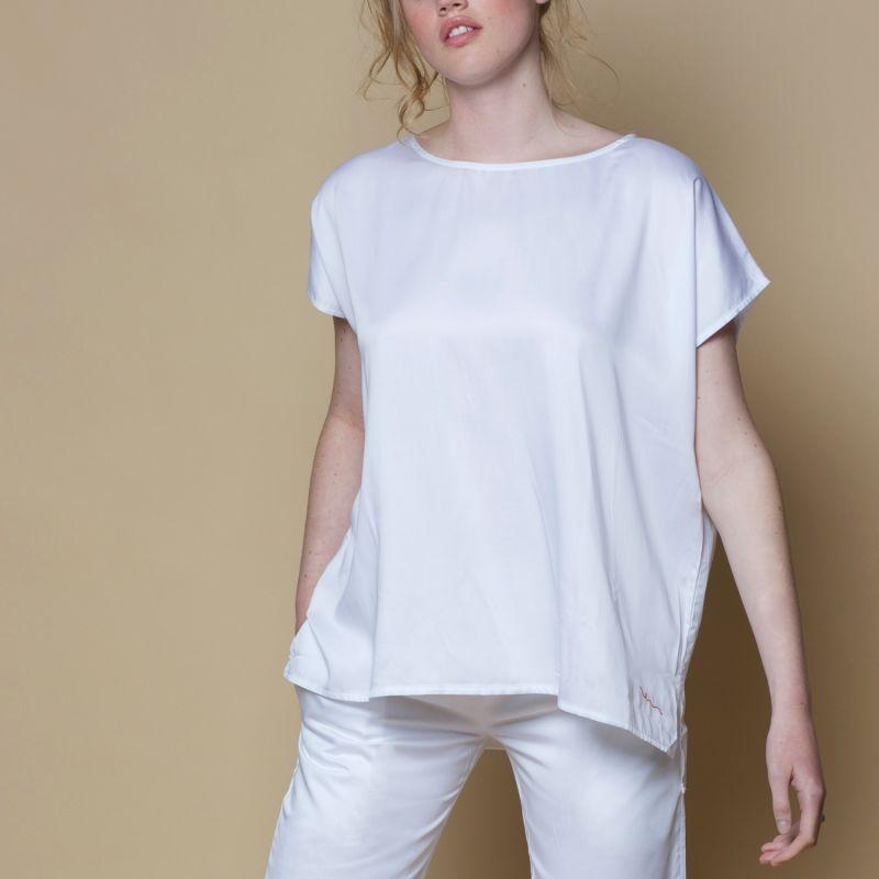 Vegan Silk Bamboo Poncho Top White image