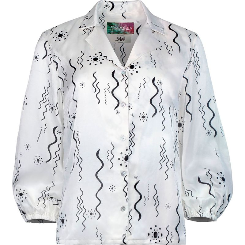 White Silk Abstract Squiggle Print Blouse image