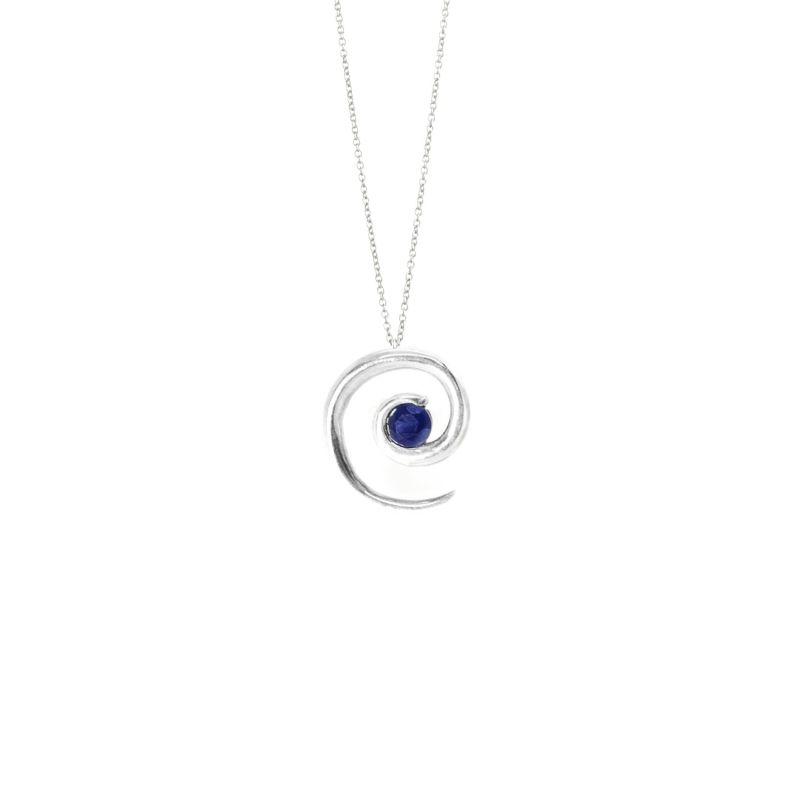 Silver Sapphire Spiral Pendant image