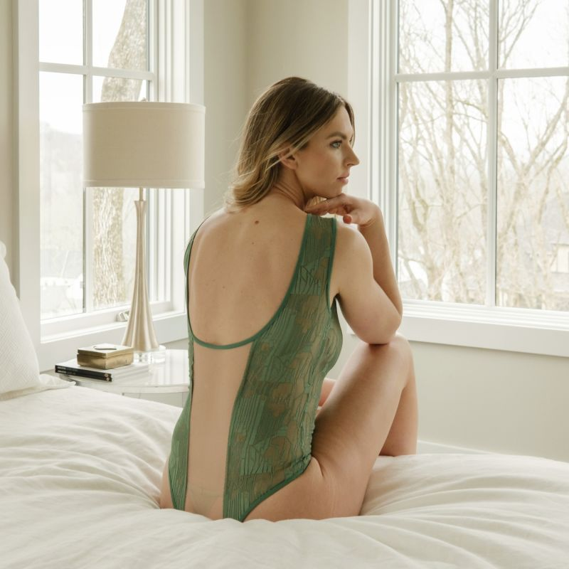 Cleopatra Green Geometric Lace Maillot Bodysuit image