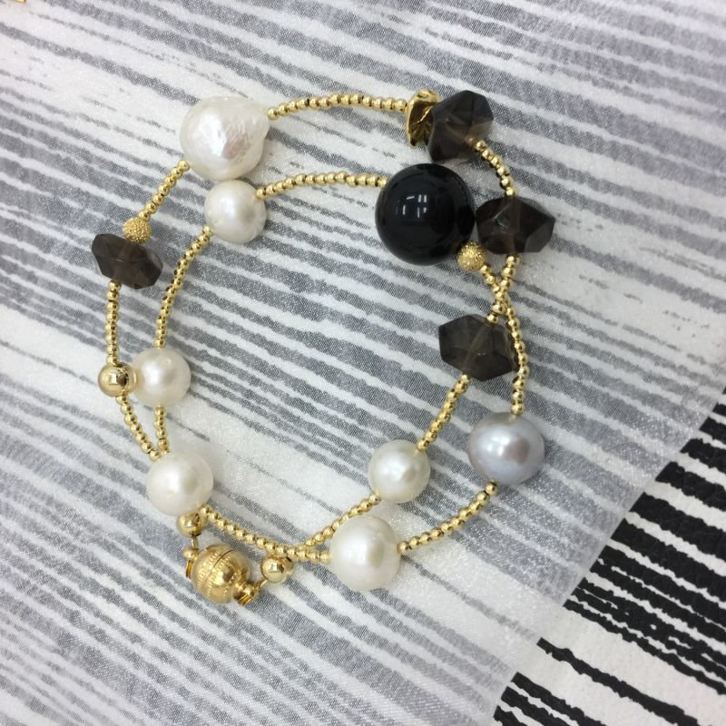 Freshwater Pearls With Black Tiger Eye & Smoky Quartz Double Wrapped Bracelet image