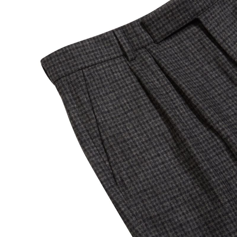 Fox Brothers Flannel Check Trousers - Grey image