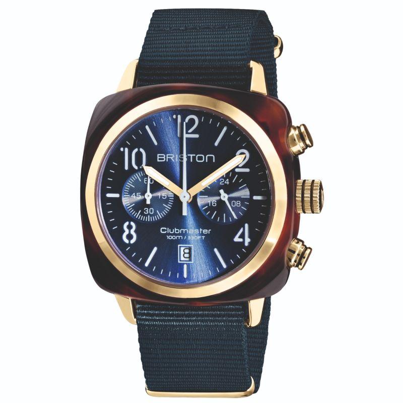 Briston Clubmaster Classic Chronograph Tortoise Shell Acetate Midnight Blue image