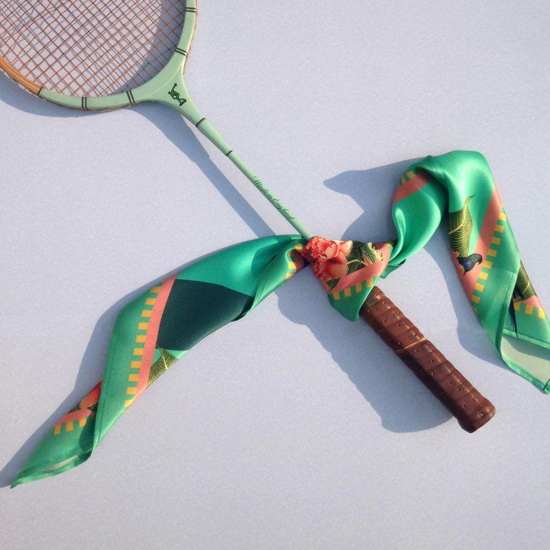Medium Tropical Rainforest Teal Silk Scarf image