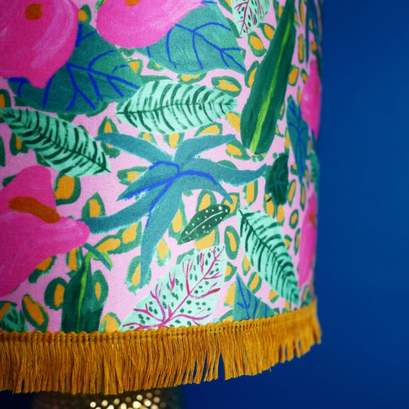 Pink Tropical Plant Silk Lampshade image