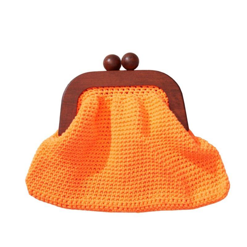 Newport Neon Hand Crocheted Clutch In Orange image