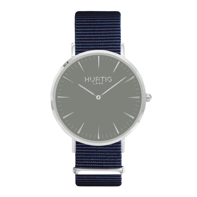 Montezuma Vegan Nylon Nato Watch - Silver, Grey & Ocean Blue image