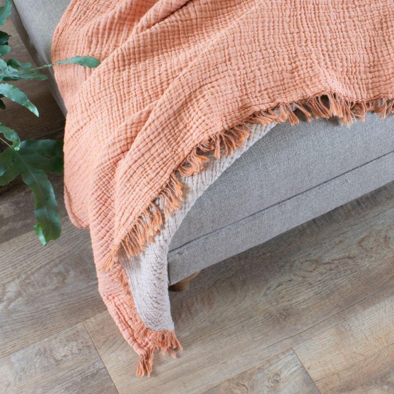 Terracotta Crinkle Cotton Throw image