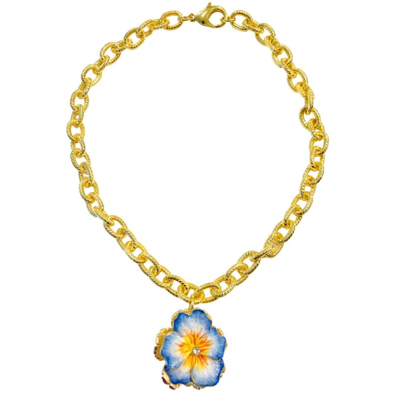 Cornflower Blue & Yellow Pansy Necklace image