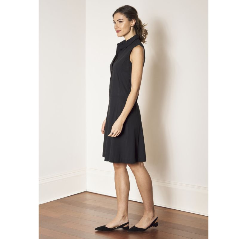 Cleverly Designed Drop-Waist Fitted & Flared Black Cotton Shirtdress - Christiane image