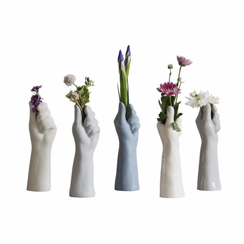 Blue Grey Hand Single Stem Flower Vase image