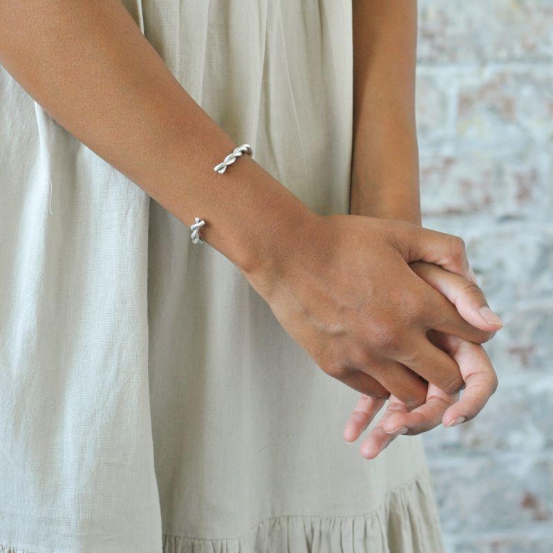 Silver Chunky Twist Cuff Bracelet image