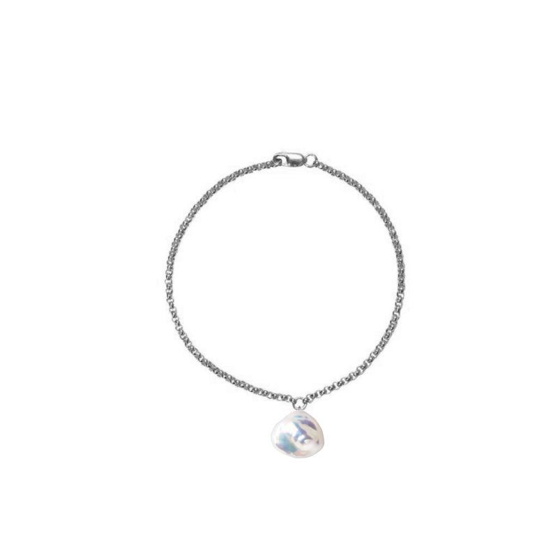 Mermaid Keshi Pearl Bracelet Silver image