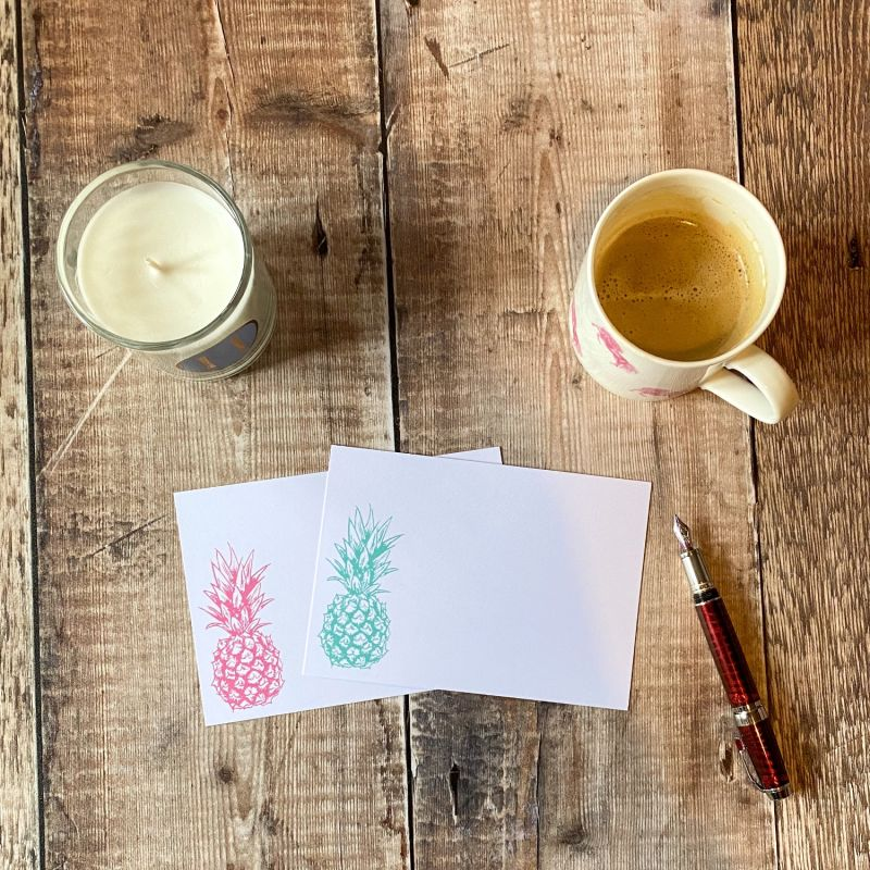 Pineapple Notecards: Pack Of 10 image