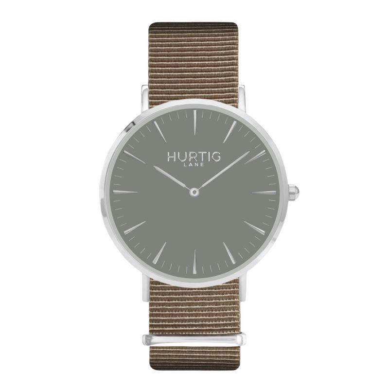 Montezuma Vegan Nylon Nato Watch - Silver, Grey & Sand image