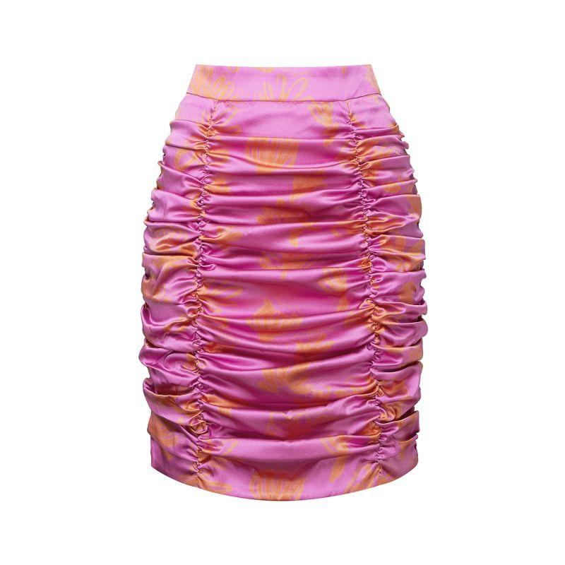 Ruched Organic Silk Mini Skirt image