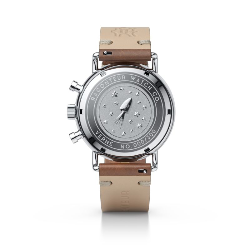 Verne Bi-Compax Silver White - Brown Leather image