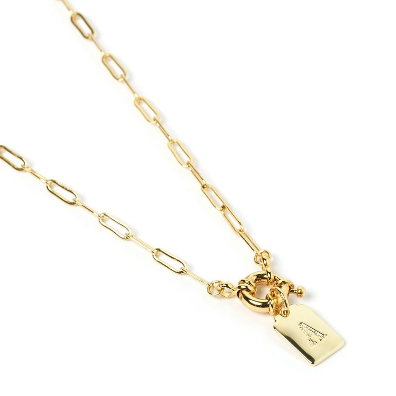 Letter Gold Tag Necklace A image
