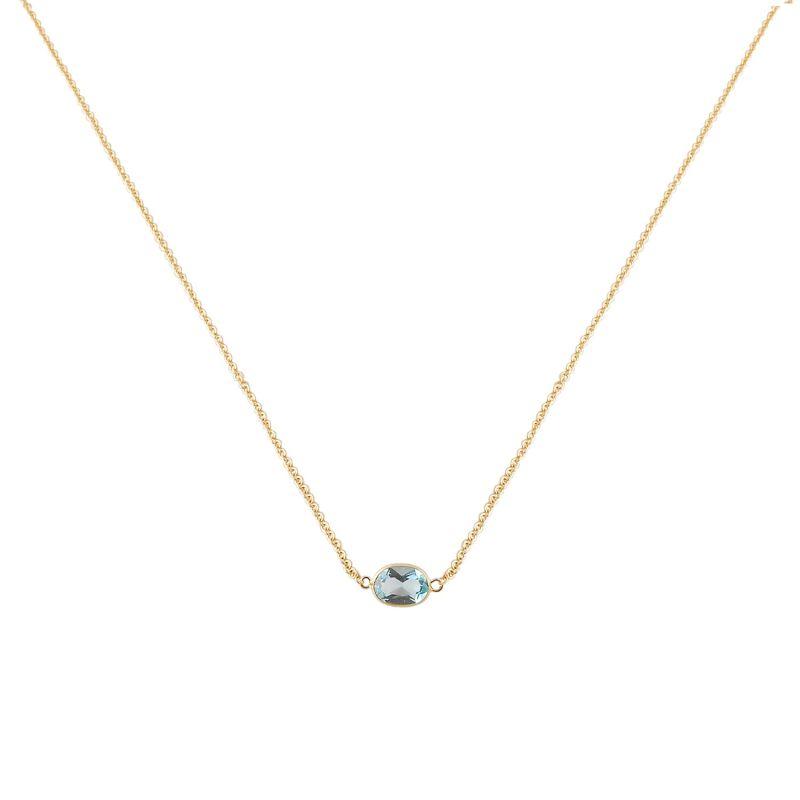 Single Stone Bezel Set Blue Topaz Necklace In 14 Karat Yellow Gold image