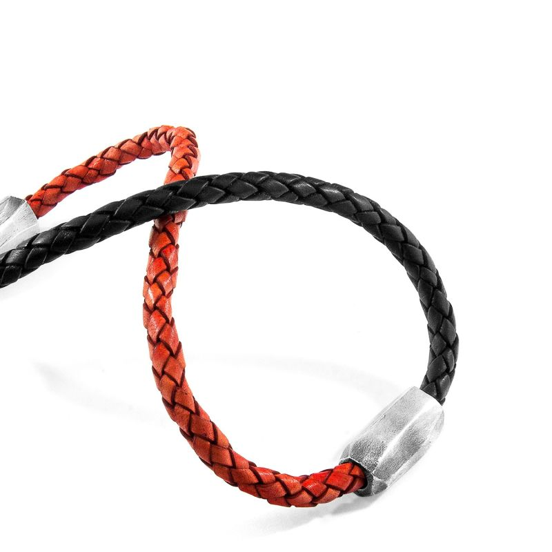 Midnight Black Hayling Silver & Braided Leather Bracelet image