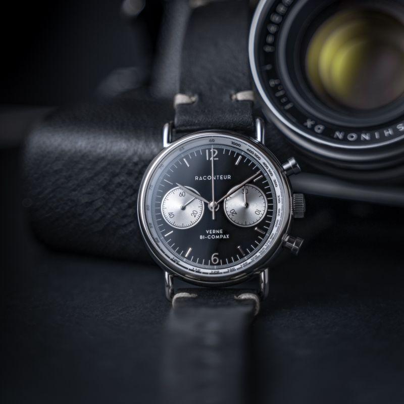 Verne Bi-Compax Silver Black - Black Leather image