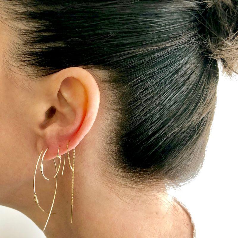 14K Gold Loop Threader Earrings image