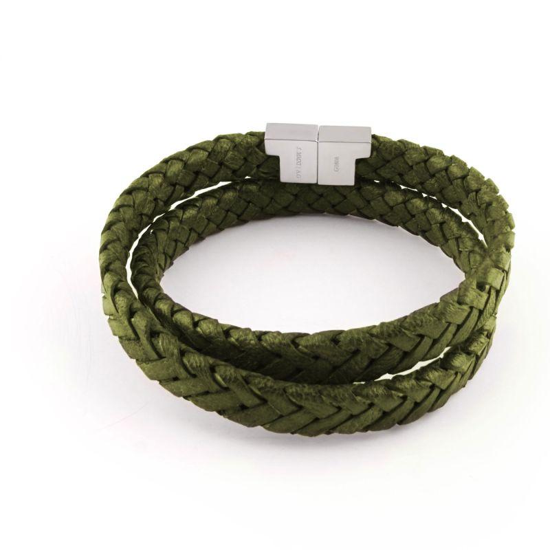 Olive Leather Double Wrap Bracelet - Stark Silver image
