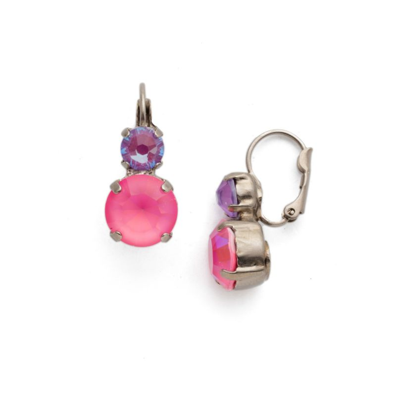 Roundabout Dangle Earring - Antique Silver Electric Pink image