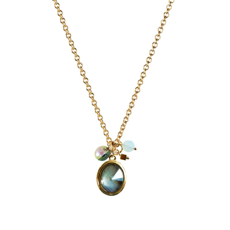 Tell Me a Story Necklace Grey Aqua with Gold image