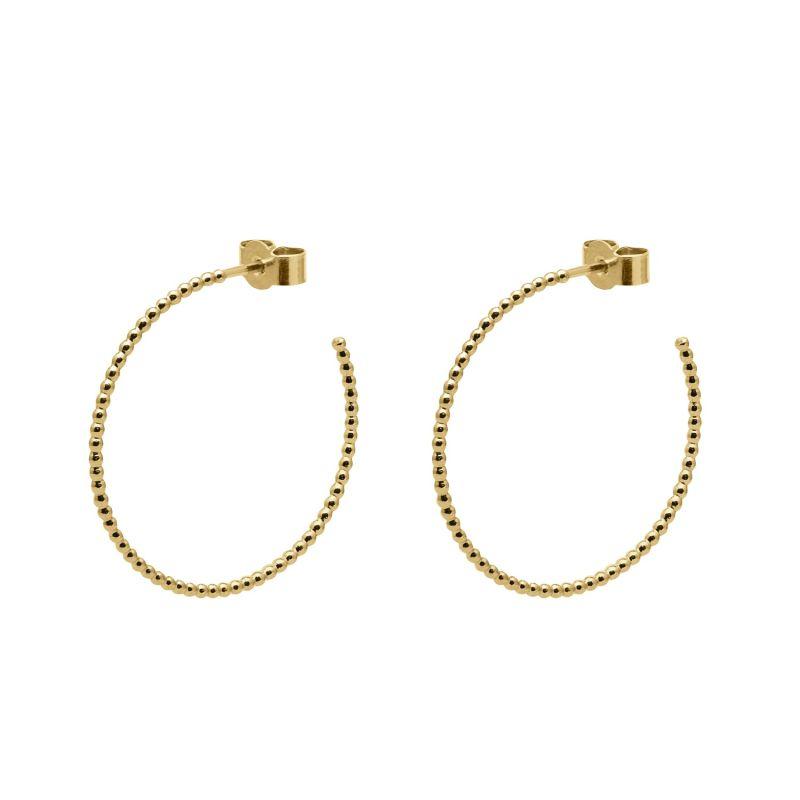 Gold Large Sphere Hoop Earrings image