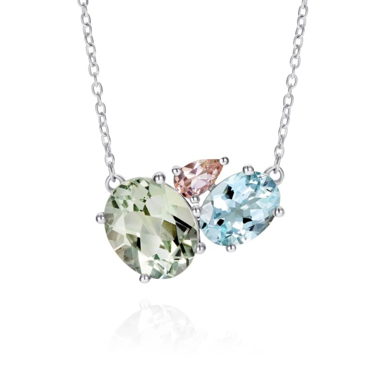 Green Amethyst Cluster Necklace image