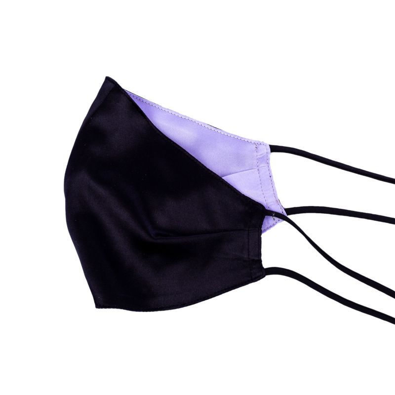 Two-Sided Black & Purple Silk Face Mask image