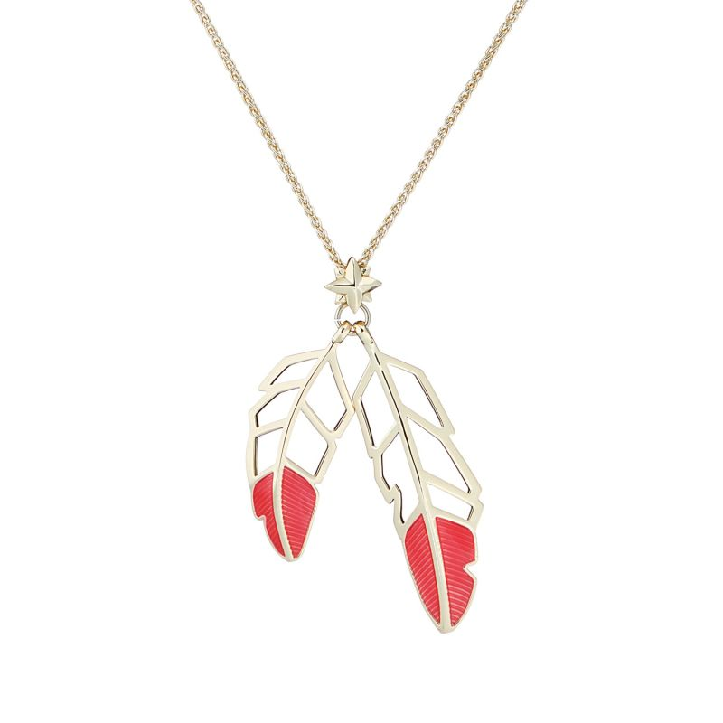 Feather Drop Pendant - Coral image