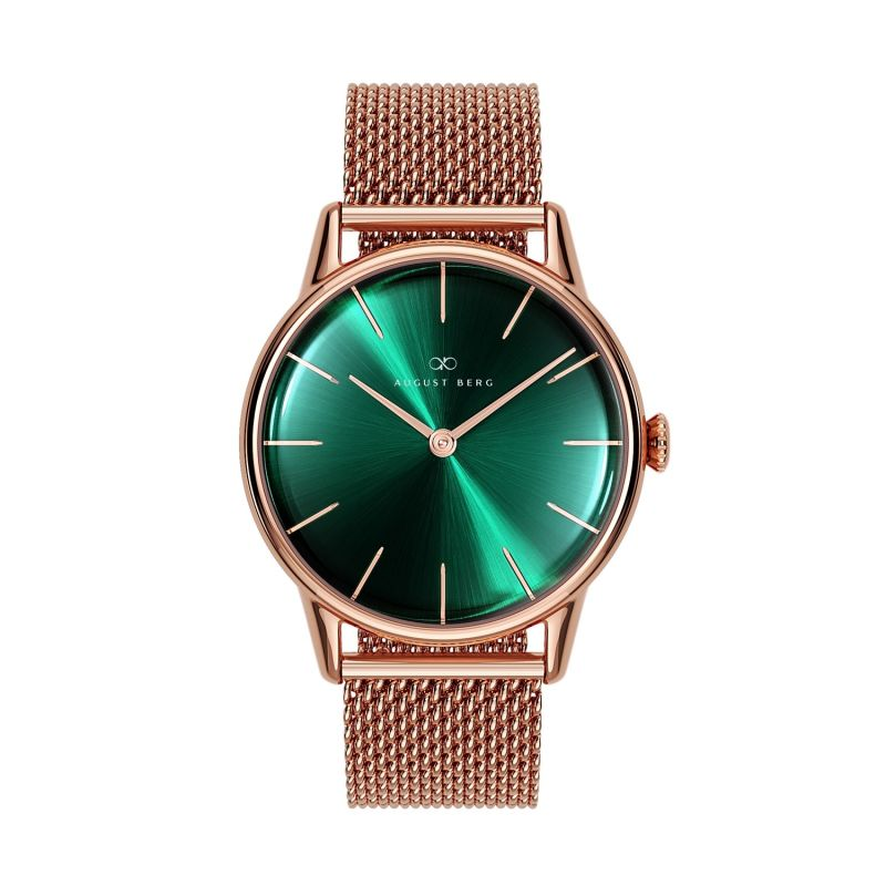 August Berg Serenity Rosegold Classic Greenhill - Rosegold Mesh 32mm image
