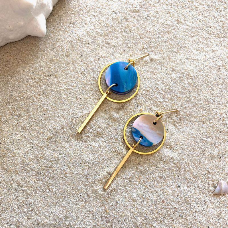 Mini Halo Drop Earrings in Paua Shell & Gold image