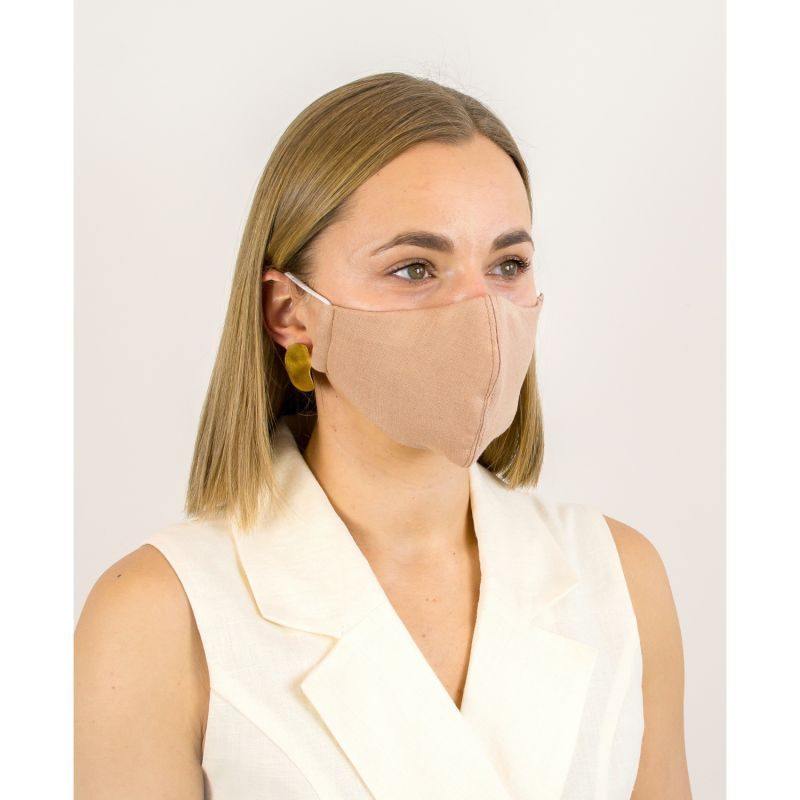 Dusty Coral Linen Cotton Face Mask With Filter Pocket image