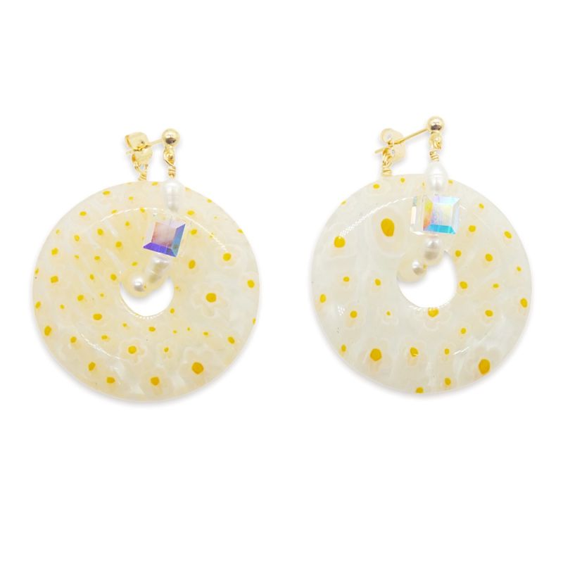 Flowers Wreath Crystal Pearl Hoops In White Yellow image