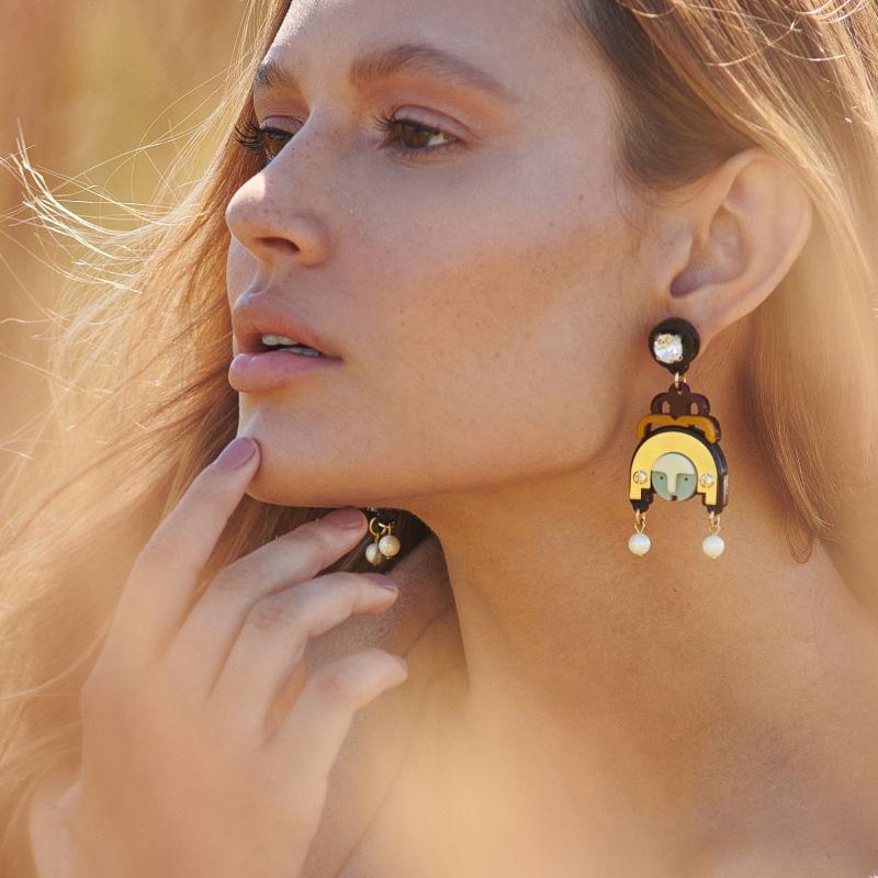 Acrylic Handmade Earring Ixchel - Blue image