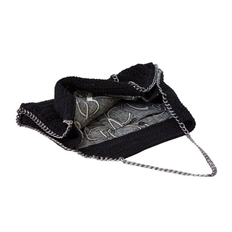 Bodrum Hand Crochet Chain Bag in Black image