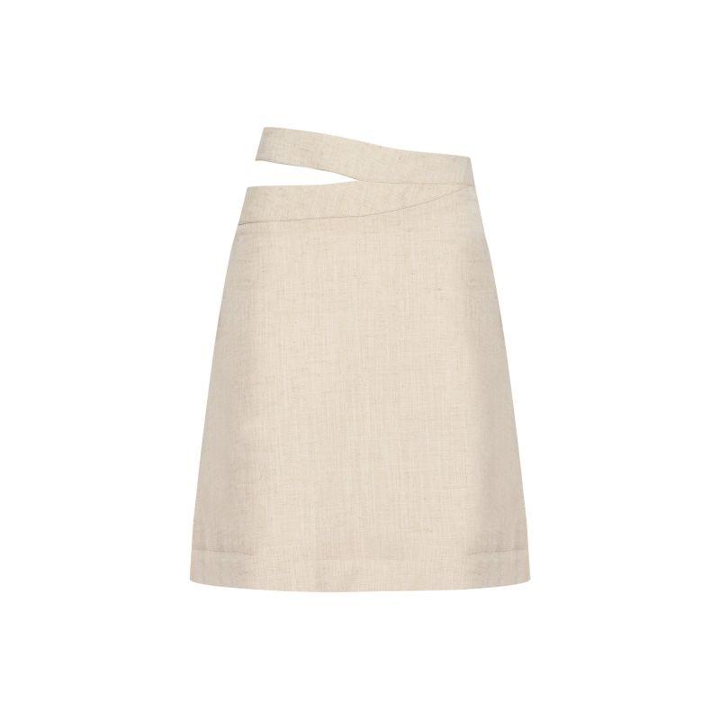 Double-Waistband A-Line Skirt - Beige image