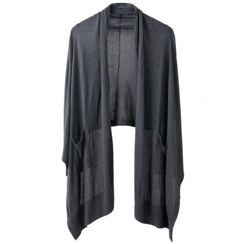 Avoir Charcoal Cashmere Silk Wrap Cardigan image