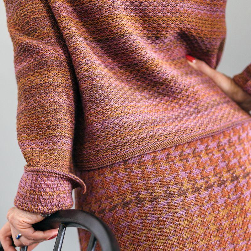 Tweed Jumper In Audrey Hepburn Style - Brown, Pink & Purple image