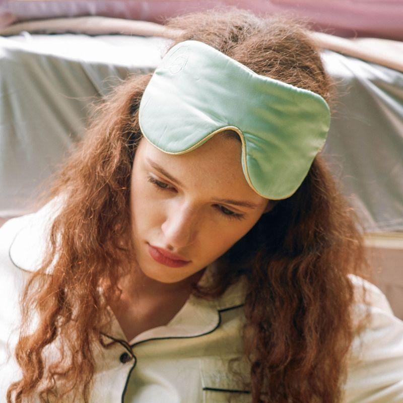 Silk Eyeshade For Sleeping - Light Green image