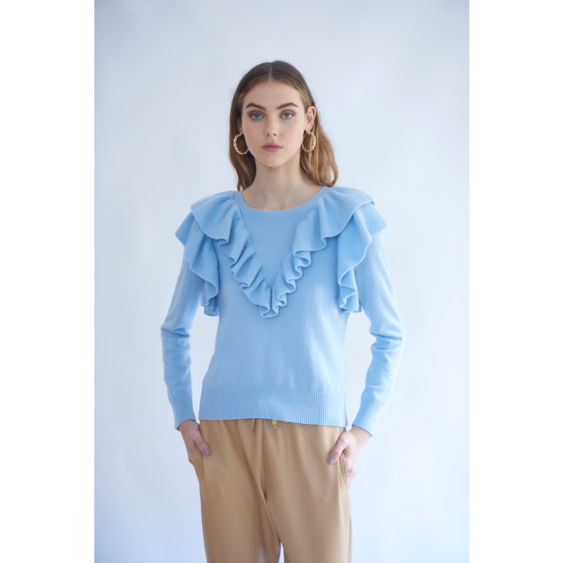 Seraphine Cashmere Sweater In Baby Blue image