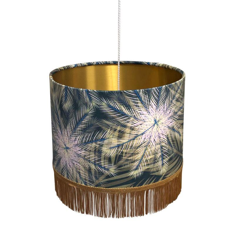 Breeze Fringed Lampshade Gold Metallic Lining 30 X 21Cm image