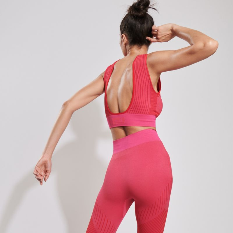 Open Back Midi Sports Bra In Pink image