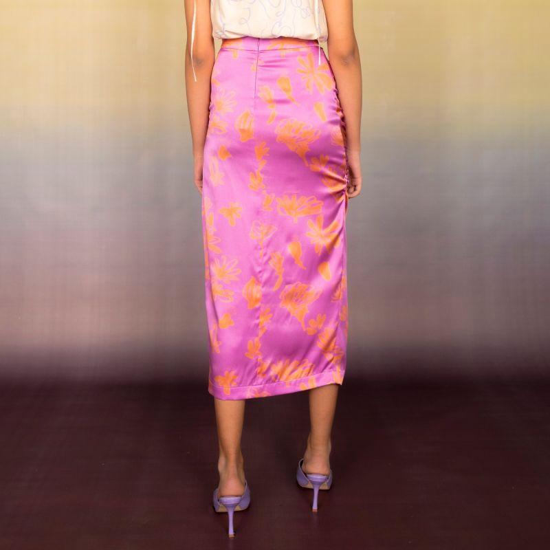 Organic Silk Ruched Midi Skirt image