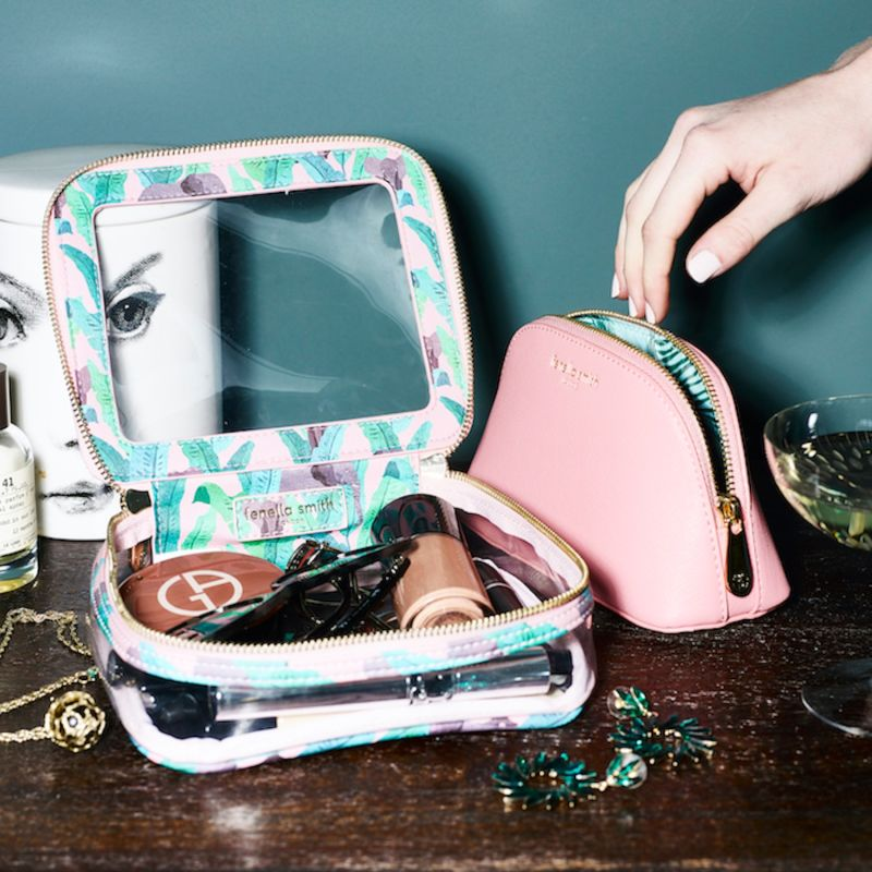 Blush Vegan Leather Oyster Cosmetic Case image